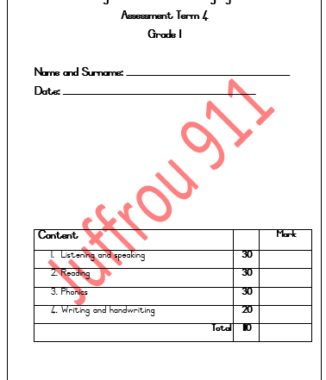 – GRADE 1 English FAL Assessment Term 4