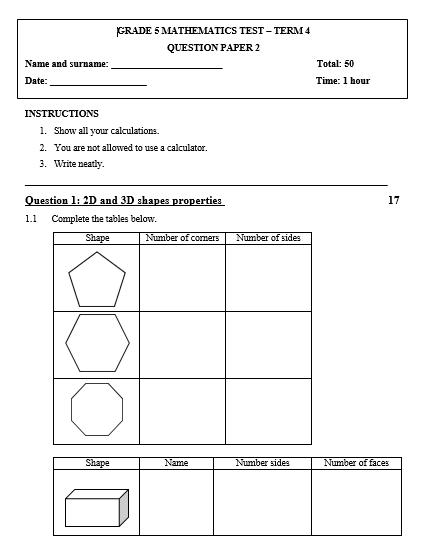 Grade 5 Mathematics test Term 4 - Paper 2 - Juffrou 911