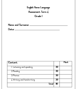 – Gr.1 English Home Language Assessment Term 4