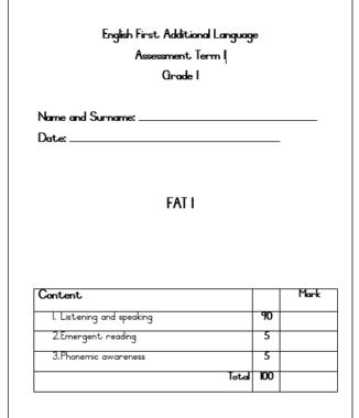 GRADE 1 English First Additional Language – Term 1