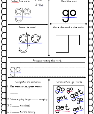 – Sight words – Workbook 1 (40 sight words)